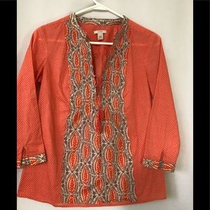 J Crew Lace Up Popover Top Tunic Shirt Sz 2